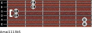 Amaj11/13b5 for guitar on frets 5, 5, 1, 1, 2, 2