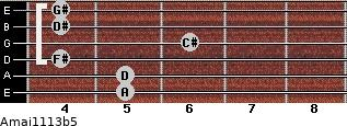 Amaj11/13b5 for guitar on frets 5, 5, 4, 6, 4, 4