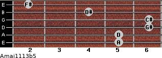 Amaj11/13b5 for guitar on frets 5, 5, 6, 6, 4, 2