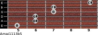 Amaj11/13b5 for guitar on frets 5, 6, 6, 7, 7, 9