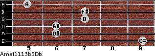 Amaj11/13b5/Db for guitar on frets 9, 6, 6, 7, 7, 5