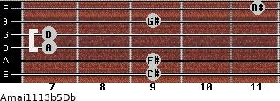 Amaj11/13b5/Db for guitar on frets 9, 9, 7, 7, 9, 11