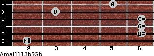 Amaj11\13b5\Gb for guitar on frets 2, 6, 6, 6, 3, 5