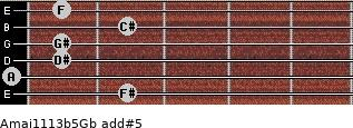 Amaj11/13b5/Gb add(#5) guitar chord