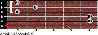 Amaj11/13b5sus/D# for guitar on frets x, 6, 6, 2, 3, 2
