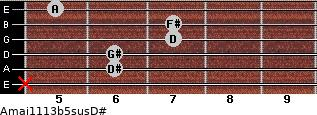 Amaj11/13b5sus/D# for guitar on frets x, 6, 6, 7, 7, 5