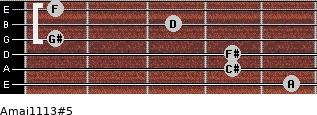 Amaj11/13#5 for guitar on frets 5, 4, 4, 1, 3, 1