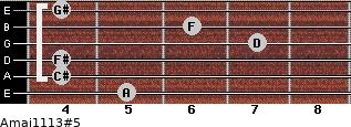Amaj11/13#5 for guitar on frets 5, 4, 4, 7, 6, 4