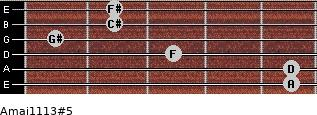 Amaj11/13#5 for guitar on frets 5, 5, 3, 1, 2, 2