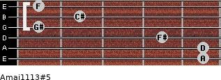 Amaj11/13#5 for guitar on frets 5, 5, 4, 1, 2, 1