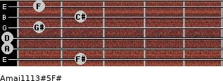 Amaj11/13#5/F# for guitar on frets 2, 0, 0, 1, 2, 1