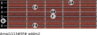 Amaj11/13#5/F# add(m2) guitar chord
