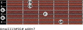 Amaj11/13#5/G# add(m7) for guitar on frets 4, 0, 3, 0, 2, 2