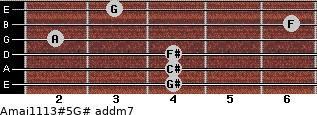 Amaj11/13#5/G# add(m7) for guitar on frets 4, 4, 4, 2, 6, 3