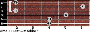 Amaj11/13#5/G# add(m7) for guitar on frets 4, 4, 5, 2, 6, 2