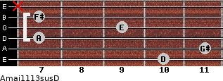 Amaj11/13sus/D for guitar on frets 10, 11, 7, 9, 7, x