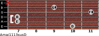 Amaj11/13sus/D for guitar on frets 10, 7, 7, 11, 9, x