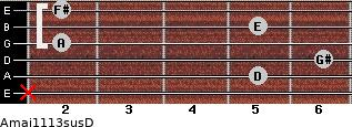 Amaj11/13sus/D for guitar on frets x, 5, 6, 2, 5, 2