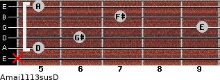 Amaj11/13sus/D for guitar on frets x, 5, 6, 9, 7, 5