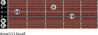 Amaj11/13sus/E for guitar on frets 0, 0, 4, 1, 3, 0