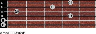 Amaj11/13sus/E for guitar on frets 0, 0, 4, 1, 3, 4