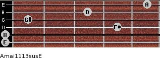 Amaj11/13sus/E for guitar on frets 0, 0, 4, 1, 3, 5