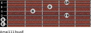 Amaj11/13sus/E for guitar on frets 0, 0, 4, 2, 3, 4
