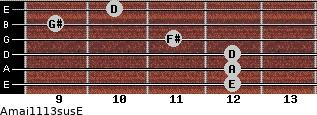 Amaj11/13sus/E for guitar on frets 12, 12, 12, 11, 9, 10