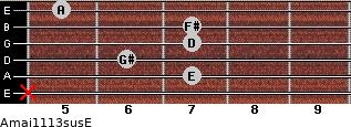 Amaj11/13sus/E for guitar on frets x, 7, 6, 7, 7, 5