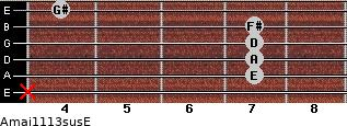 Amaj11/13sus/E for guitar on frets x, 7, 7, 7, 7, 4