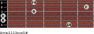 Amaj11/13sus/G# for guitar on frets 4, 0, 0, 2, 5, 2