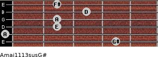 Amaj11/13sus/G# for guitar on frets 4, 0, 2, 2, 3, 2