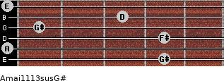Amaj11/13sus/G# for guitar on frets 4, 0, 4, 1, 3, 0
