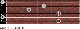Amaj11/13sus/G# for guitar on frets 4, 0, 4, 2, 3, 0