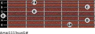 Amaj11/13sus/G# for guitar on frets 4, 5, 0, 2, 5, 2