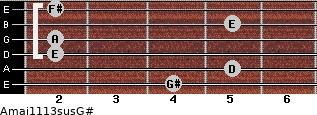 Amaj11/13sus/G# for guitar on frets 4, 5, 2, 2, 5, 2