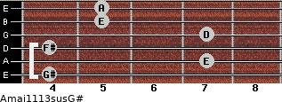 Amaj11/13sus/G# for guitar on frets 4, 7, 4, 7, 5, 5