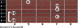 Amaj11/13sus/G# for guitar on frets 4, 7, 4, 7, 7, 5