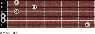 Amaj11#5 for guitar on frets 5, 0, 0, 1, 2, 1
