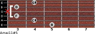 Amaj11#5 for guitar on frets 5, 4, 3, x, 3, 4