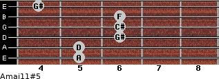 Amaj11#5 for guitar on frets 5, 5, 6, 6, 6, 4