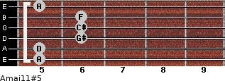 Amaj11#5 for guitar on frets 5, 5, 6, 6, 6, 5