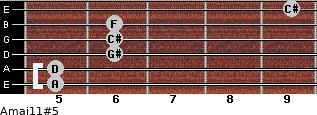Amaj11#5 for guitar on frets 5, 5, 6, 6, 6, 9