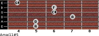Amaj11#5 for guitar on frets 5, 5, 7, 6, 6, 4