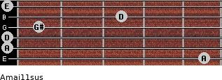 Amaj11sus for guitar on frets 5, 0, 0, 1, 3, 0