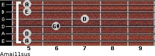 Amaj11sus for guitar on frets 5, 5, 6, 7, 5, 5
