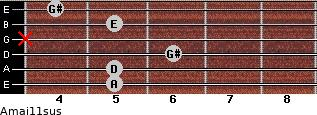Amaj11sus for guitar on frets 5, 5, 6, x, 5, 4