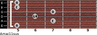 Amaj11sus for guitar on frets 5, 7, 6, 7, 5, 5
