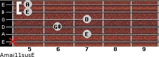 Amaj11sus/E for guitar on frets x, 7, 6, 7, 5, 5