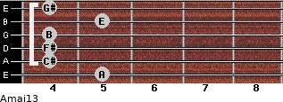 Amaj13 for guitar on frets 5, 4, 4, 4, 5, 4